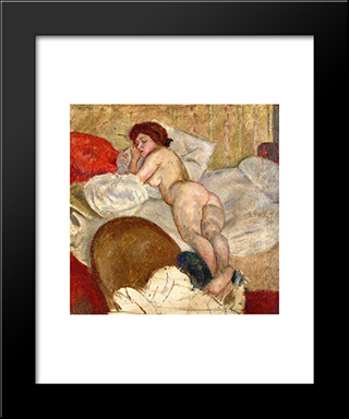 In The Hotel Room: Modern Black Framed Art Print by Jules Pascin