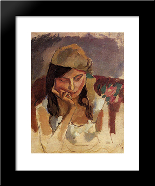 Lady Wearing A Turban: Modern Black Framed Art Print by Jules Pascin