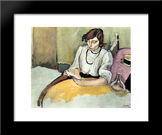 Portrait Of Hermine David: Modern Black Framed Art Print by Jules Pascin