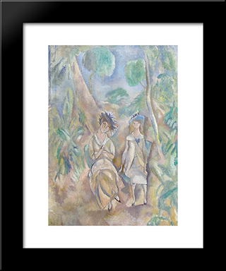Printemps: Modern Black Framed Art Print by Jules Pascin