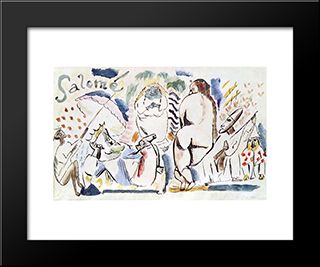 Salome: Modern Black Framed Art Print by Jules Pascin