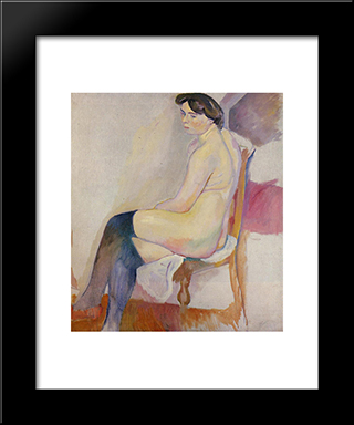 Seated Nude With Black Stockings: Modern Black Framed Art Print by Jules Pascin
