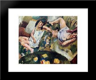 Siesta: Modern Black Framed Art Print by Jules Pascin