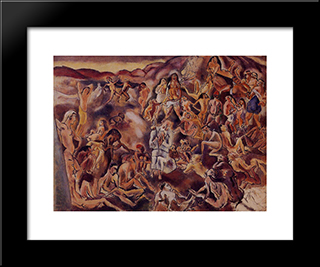 The Temptation Of Saint Anthony: Modern Black Framed Art Print by Jules Pascin