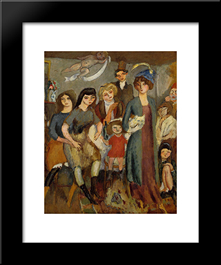 The Turkish Family: Modern Black Framed Art Print by Jules Pascin
