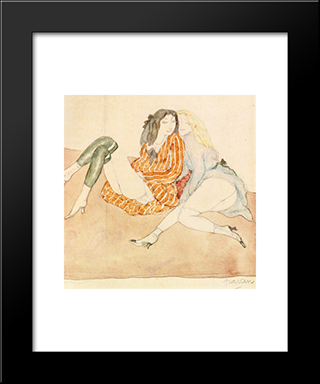 Two Girls On The Ground: Modern Black Framed Art Print by Jules Pascin