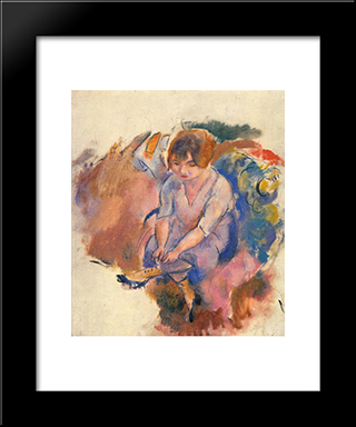 Young Woman Putting On Her Socks: Modern Black Framed Art Print by Jules Pascin