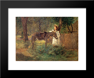 After The Ride Aka Visiting Neighbors: Modern Black Framed Art Print by Julian Alden Weir
