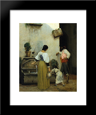 At The Water Trough: Modern Black Framed Art Print by Julian Alden Weir