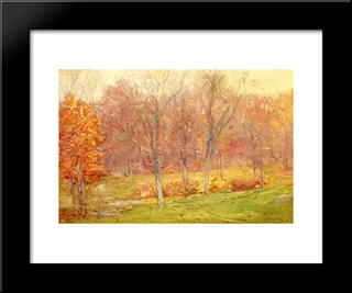 Autumn Rain: Modern Black Framed Art Print by Julian Alden Weir