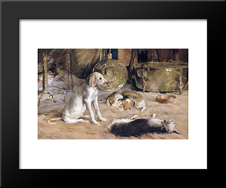Fireside Dreams: Modern Black Framed Art Print by Julian Alden Weir