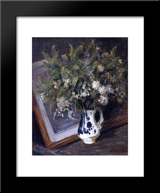 Flowers In A Delft Jug: Modern Black Framed Art Print by Julian Alden Weir
