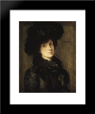 Girl In Black: Modern Black Framed Art Print by Julian Alden Weir