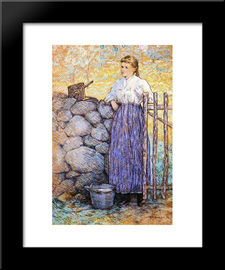 Girl Standing By A Gate: Modern Black Framed Art Print by Julian Alden Weir
