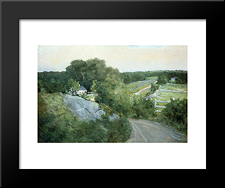 Green Hills And Farmland: Modern Black Framed Art Print by Julian Alden Weir