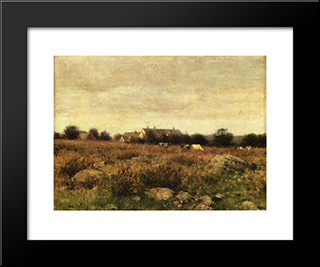 Houses In Pasture: Modern Black Framed Art Print by Julian Alden Weir