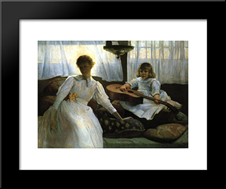 Idle Hours: Modern Black Framed Art Print by Julian Alden Weir