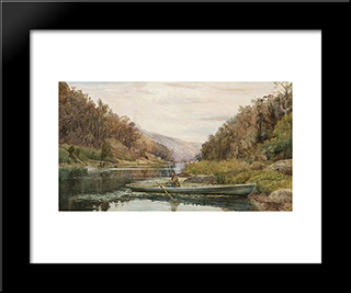 Boatman On The Hawkesbury River, At Cole And Candle Creek, Near Akuna Bay: Modern Black Framed Art Print by Julian Ashton