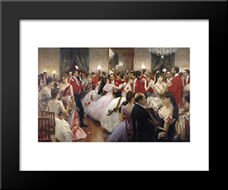 A Hunt Ball: Modern Black Framed Art Print by Julius LeBlanc Stewart