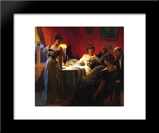 A Supper Party: Modern Black Framed Art Print by Julius LeBlanc Stewart