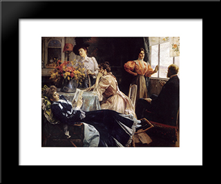 At Home: Modern Black Framed Art Print by Julius LeBlanc Stewart