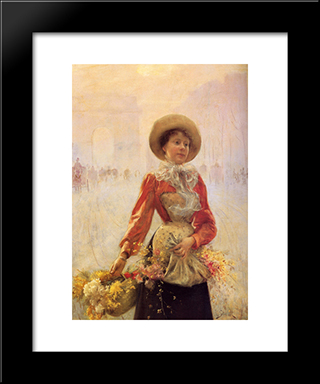 Flower Girl: Modern Black Framed Art Print by Julius LeBlanc Stewart