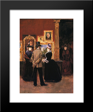 Ladies With A Gentleman In A Top Hat: Modern Black Framed Art Print by Julius LeBlanc Stewart