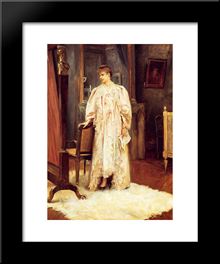 Lady In Her Boudoir: Modern Black Framed Art Print by Julius LeBlanc Stewart