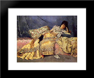 Lady On A Pink Divan: Modern Black Framed Art Print by Julius LeBlanc Stewart