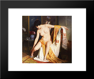 Nude In An Interior: Modern Black Framed Art Print by Julius LeBlanc Stewart