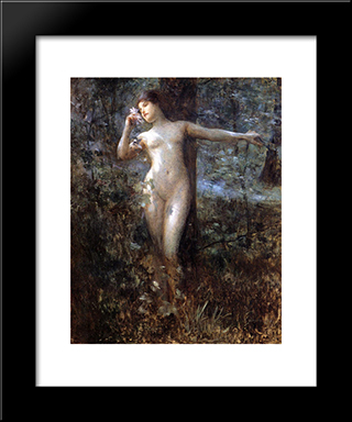Nude In The Forest: Modern Black Framed Art Print by Julius LeBlanc Stewart