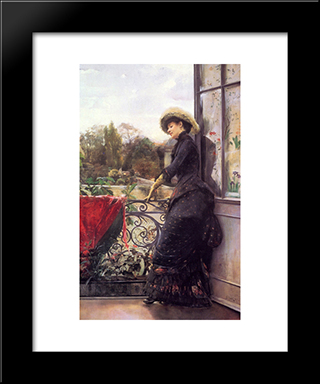 On The Terrace: Modern Black Framed Art Print by Julius LeBlanc Stewart
