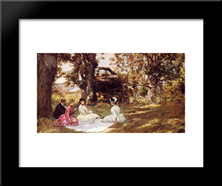 Picnic Under The Trees: Modern Black Framed Art Print by Julius LeBlanc Stewart