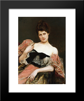 Portrait Of A Lady: Modern Black Framed Art Print by Julius LeBlanc Stewart