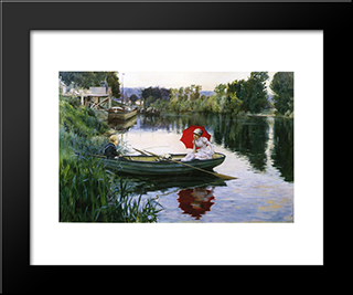 Quiet Day On The Seine: Modern Black Framed Art Print by Julius LeBlanc Stewart