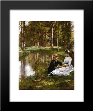 Reading: Modern Black Framed Art Print by Julius LeBlanc Stewart