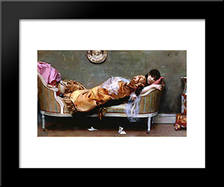 Reclining Woman: Modern Black Framed Art Print by Julius LeBlanc Stewart