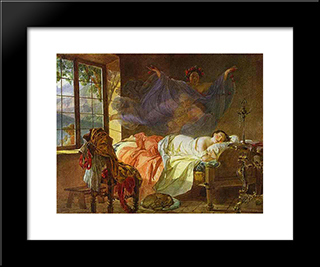 A Dream Of A Girl Before A Sunrise: Modern Black Framed Art Print by Karl Bryullov