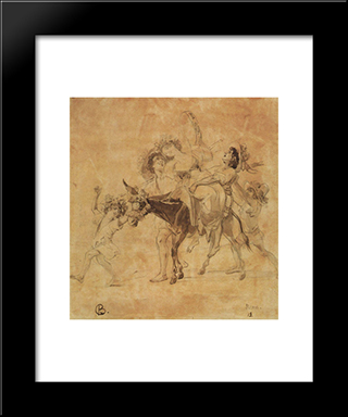 A Merry Return: Modern Black Framed Art Print by Karl Bryullov