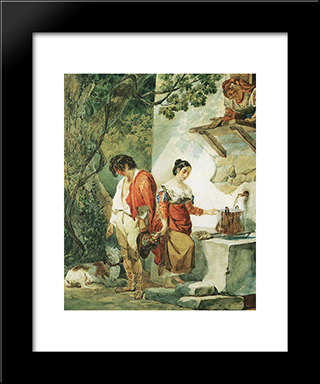 An Interrupted Date: Modern Black Framed Art Print by Karl Bryullov