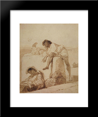 At Noon: Modern Black Framed Art Print by Karl Bryullov