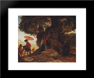 At The Mother Of God Oak: Modern Black Framed Art Print by Karl Bryullov
