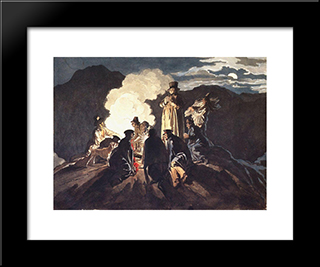 Bivouac On A Crater, Vesuvius: Modern Black Framed Art Print by Karl Bryullov