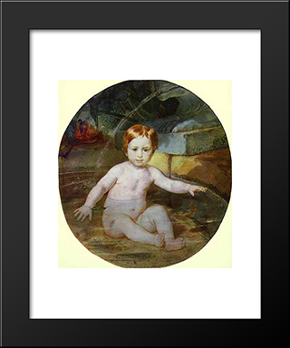 Child In A Swimming Pool (Portrait Of Prince A. G. Gagarin In Childhood): Modern Black Framed Art Print by Karl Bryullov