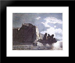 Cliffs And Moon At Night: Modern Black Framed Art Print by Karl Bryullov