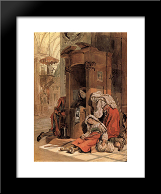 Confession Of An Italian Woman: Modern Black Framed Art Print by Karl Bryullov