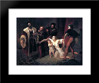 Death Of Inessa De Castro, Morganatic Wife Of Portuguese Infant Don Pedro: Modern Black Framed Art Print by Karl Bryullov