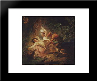 Diana, Endymion And Satyr: Modern Black Framed Art Print by Karl Bryullov