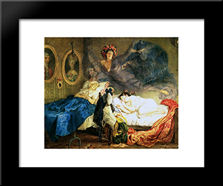 Dreams Of Grandmother And Granddaughter: Modern Black Framed Art Print by Karl Bryullov