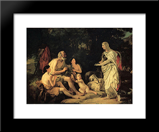 Erminia And The Shepherds: Modern Black Framed Art Print by Karl Bryullov